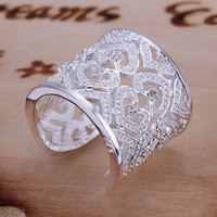 Wholesale silver ring silver fashion jewelry Inlaid Multi Heart Ring Silvery Opened besajvzasn