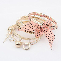 Wholesale 2014 NEW G810 Multilayer Pearl Chiffon Flower Fabric Hand made Bracelet Western Style Fashion Jewelry