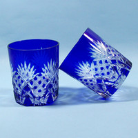Wholesale Handmade Bohemian Czech Cobalt blue Cut to Clear juice glass Drinking Glass