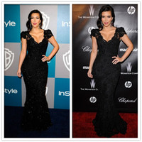 Reference Images V-Neck Lace 2014 New Good Design New Fashion Kim Kardashian Sexiest Black Lace Celebrity Evening Dresses Prom Dresses EV47
