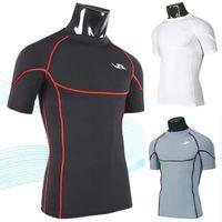 Men Silk Round Mens Sports Apparel Compression round neck T Shirt Underwear Running Training Fitness Yoga Cool Feeling W50