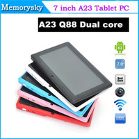 Wholesale A23 Q88 Allwinner A23 inch Dual core Tablet PC Capacitive Screen Android MB DDR3 GB WIFI dual Camera Colorful Tablet PC