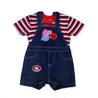 Boy Summer Short Wholesale 6 sets lot 2014 New Fashion Baby Boys Clothes Peppa Pig Boys Denim Bib Set Children Fashion Clothes High Quality In Stock