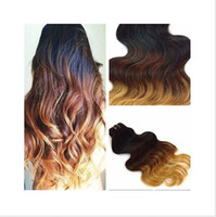 Wholesale New fashion virgin brazilian hair ombre hair extensions three tone color b human hair