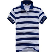 Men Polo Tops Free Shipping 2013 Men Casual Sport Stripe Short Sleeve Turn-down Collar Polo Shirt 4Colors Size M-XXL MTP026