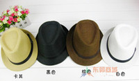 mix color straw trilby hat - Unisex Trilby Gangster Cap Summer Beach Sun Straw Panama Hats