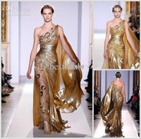 Wholesale Hot sale Zuhair Murad style formal evening celebrity dresses one shoulder sweep train sexy backless formal prom gowns