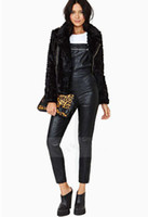 Wholesale New Arrival Sexy PU Leather Straps Jumpsuits Long Trousers Metal Zipper Straps Black Classic Straight Overalls Women s Pants HGY5 MY