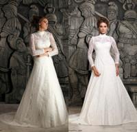 Wholesale 2014 New Muslim High Neck Sheer Long Sleeve Applique Court Train A line Lace Elegant Bridal Gowns Vintage Church Wedding Dresses DL1311869