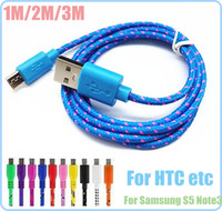 Universal   3M 10ft Fabric Weave Micro USB Data Charger Sync Cable Cord For Samsung Galaxy S4 S3 S2 Blackberry HTC etc, 2m 6ft 1m 3ft AAAAA Quality DHL