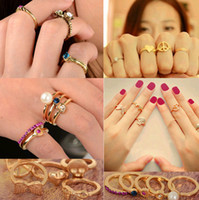 Cheap Cluster Rings Punk ring set Best Punk Women's above knuckle ring