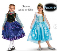 2014 Frozen Elsa Anna Princess summer long sleeve dress chri...