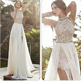 Wholesale 2014 romantic high neck lace applique beaded chiffon high low ivory prom dresses long pageant dresses evening gowns