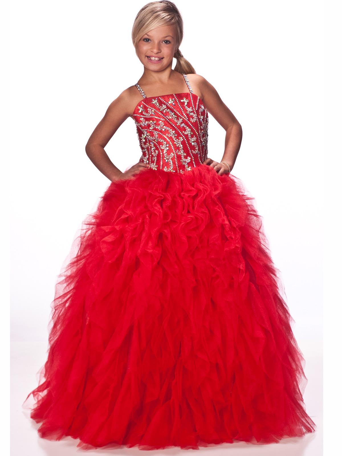 Girls Beauty Pageant Dresses Feature Beaded Spaghetti Straps Hand ...
