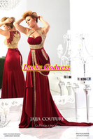 Model Pictures Sweetheart Elastic Satin Dubai Fashion 2014 Evening Dresses New Arrival V Neck Gold Applique Pleat Chiffon Burgundy Vintage Caftans Arabic Formal Gown