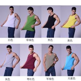 Wholesale Four seasons High quality white Mens T Shirts Weste Undershirt Spaghetti Strap Tank Tops Slim Muscle Vest Big size M XL