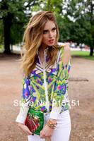 Women 100% Linen Hollow Out dudalina 2014 Long Sleeve Off Shoulder Geometric Pattern Chiffon Flower Printed s Shirt Women blusa Autumn Clothing