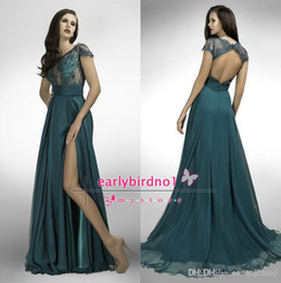 Wholesale Flwo chiffon A line peacock applique prom dresses sexy side slit bateau cap sleeves backless sweep train formal evening party gowns BO2157