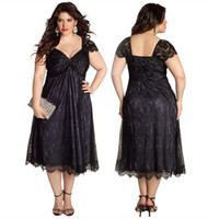 Wholesale 2014 Black Plus Size Lace A Line Mother of the Bride Dresses Capped Sleeves Sweetheart Zipper Back Ruched Tea Length Custom Made Party Gown