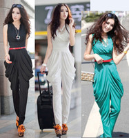 Wholesale 2014 Fashion Women Jumpsuits Elegant Sexy V Neck Lady Casual Union Suits Harem Long Pants Black White Blue ecc1381
