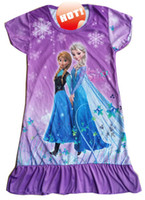 Wholesale 6pcs FROZEN Elsa and Anna girls short sleeve dress nightgown sleepwear nightie dress