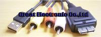 Wholesale 100pcs VMC MD2 USB AV TV Video Cable Cord for Sony VMC MD2 Cyber shot DSC W220P DSC HX1 DSC H20 DSC W290 DSC W220 cameras m Copper cable