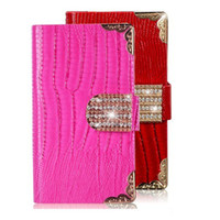 For Apple iPhone rhinestone buckles - PU Flip Leather Case Luxury Diamond Rhinestones Buckle Wallet Cases Cover For iPhone Plus S S SAMSUNG GALAXY S3 S4 S5 Note