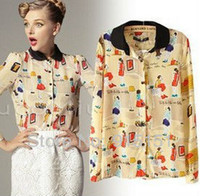 Women 100% Linen Rivet 2014 new fashion spring print pattern peter pan collar slim silk shirts women's long-sleeve s dudalina Free shipping