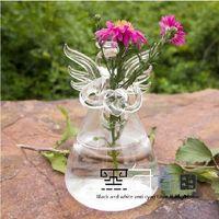 Wholesale 2 Glass Angel Ornament Flower Vase Manual hydroponic flower vase transparent glass angel vase creative home decoration