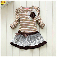 TuTu Summer A-Line 2014 NEW!! Free shipping, Wholesale Spring 5pcs baby girl striped children lace dress chest with flowers baby dress,tutu dress