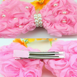 Baby Barrettes Hairpin Girl Bow Flower Hair Clips With Pearl Hair Accessories Hair Bow DIY Photography props Hair Clip Flower Barrette 20pcs