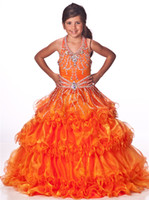 ball gown sewing pattern - Tangerine Long Girls Pageant Dresses Halter Neckline with Rhinestone Beading Hand Sewn Crystal Pattern Layers Ruffled Organza Skirt Unique