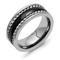 Band Rings accents polish - Wholesales mm Pure Titianium Ring Sawtooth Accent Black Polished Ceramic Center Comfort Fit Wedding Band New Size TI026R