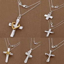 New arrival Fashion jewelry 6 Styles Different 20pcs lot 925 Silver Cross Pendant Charms O Chains Necklace 18inch Hot Free Shipping