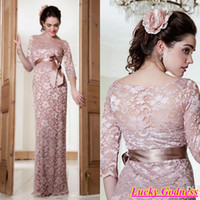 Wholesale 2014 Long Sleeves Maternity Wedding Party Formal Dress Rose Pink Vintage Lace A line Long Evening Dresses Bridesmaid Formal