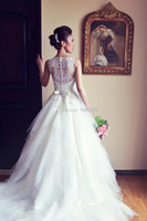 Wholesale 2014 A line wedding dress with sheer straps buttons back Bridal gown Embroidery Ball gown wedding dresses Vestido noiva BO3039