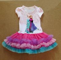 TuTu Summer Pleated 5 Pcs Lot 2014 New Fashion Summer Baby Girl Child Kids Party Birthday Cartoon Frozen Princess Elsa Anna Polka Dot Ball Gown Dress H0140541