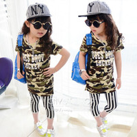 Girl Summer  girl sets girl summer clothes 2 Piece sets girl Camouflage long section short-sleeved T-shirt +leggings sets girl Clothing