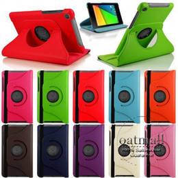 Wholesale Megnetic Smart Stand Case For ASUS Google Nexus II nd Generation Degree Rotating PU Leather Case Cover w Swivel Stand