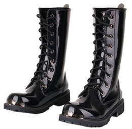 Free Shipping,Men's Knee-High Boots,Black Punk Patent Leather Lace-Up Shoes,Martin Cowboy Combat Army Boots,US Size 6-10