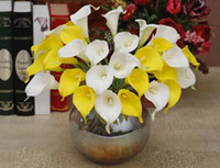 Wholesale 96PCS NATURAL REAL TOUCH PU FLOWERS WHITE CALLA LILY FOR WEDDING BRIDAL BOUQUETS