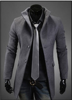 Wholesale Fashion New men trench coat spring Korean slim fit casual Wool coat tops outwear men s clothing men clothes
