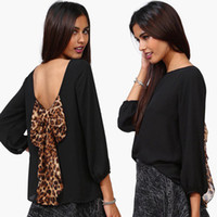 Long Sleeve Chiffon  2014 new female models women's clothes, the dew strap loose long-sleeved chiffon butterfly leopard chiffon blouses , size: S, M, L, XL, XXL