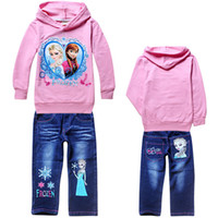 Frozen Girls Autumn sets Hoodies+ jeans Baby Frozen Princess ...