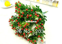 Wedding Decorative Flowers & Wreaths 134211 1PCS Bouquet Artificial strawberry flowers plants for Wedding Party Home Decor gift craft DIY CN post