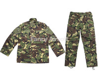 Camping & Hiking Full Breathable British Woodland Airsoft Tactical Military Special Force Combat US Field Uniform Suit Shirt + Pants Button S M L XL