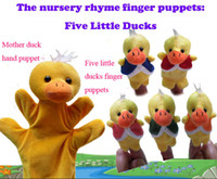 Cloth 0-12 Months Christmas Wholesale - Five little ducks with one hand ducks Educational Story-telling Toy Soft Plush Puppet Finger Toys For Children free shipping Z68