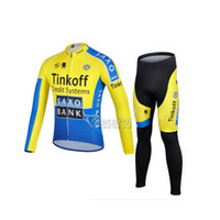 Wholesale Team Cycling Jersey Sets SAXO New Long Sleeve cycling Suits Bike Clothes Bicycle Wear Bicycle Pants Sleeve Jersey Pants Blue