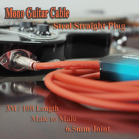 Wholesale 10ft mm Instrument Guitar Cable Male to Male Straight Serviceable Steel Plug Orange Double anti interference performance I257C