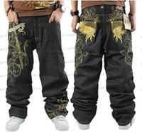 Wholesale Brand New Fashion Men Punk Rock Hip hop Street dance Board Embroidery Leisure zipper jeans trousers